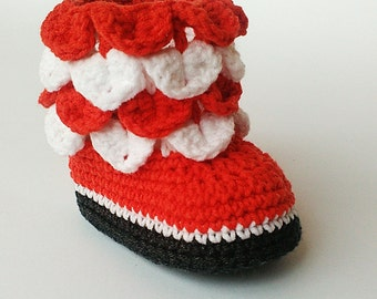 Crochet baby boots, Christmas crochet booties, Red and white baby shoes,