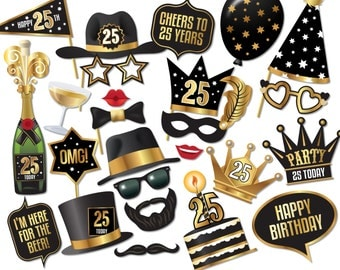 25th birthday Photo Booth props - Instant Download printable PDF. 25th birthday party decorations. Photobooth supplies. 25 Today - 0201