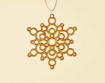 Laser Cut Wood Snowflake Ornament - Design #7 - 50% off