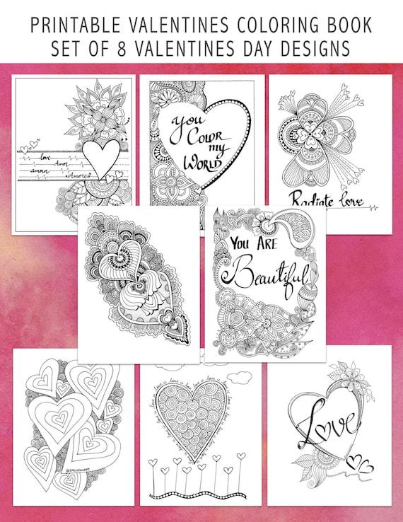 Printable Valentines Day Coloring Book 8 Digital Love Amor