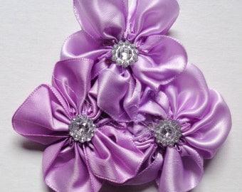 Triple Artificial Satin Ribbon Cluster Flowers+Rhinestones