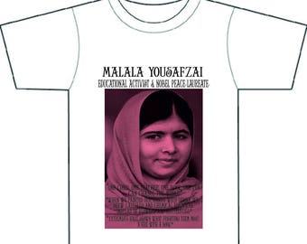 MALALA Yousafzai,icon, inspirational, activist,feminist, extraordinary young role-model, tee-shirt, gift for girl,women