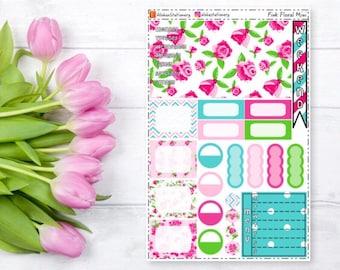 Pink Floral Mini Happy Planner Sticker Sheet