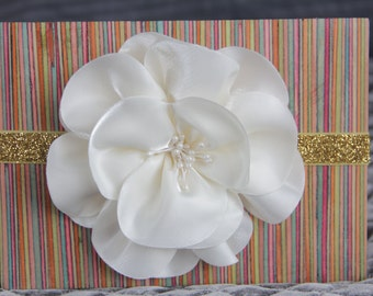 Ivory Gold Flower Headband, Infant Hairband, Newborn Photography Prop, Elastic Hair Band, Baby Shower Gift, Hair Bands for Babies