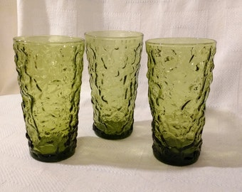 3 Milano Lido Avocado Green Glass Tumblers Anchor Hocking