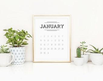 SALE -over 50% off! 2017 Calendar, Retro black and white digital download printable calendar in A4 pdf