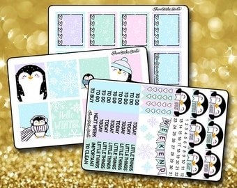 Pastel Penguin Weekly Sticker Kit - Vertical Planner Stickers Erin Condren Life Planner  ECLP Winter Stickers Penguin Stickers