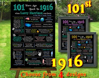 101st - 1916  Birthday Chalkboard, 1916 Poster, 101 Years Ago in 1916, 101st Birthday Gift, Personalized,Printable Digital file (#108)