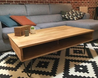 Table low double trap in solid oak and feet raw steel pins