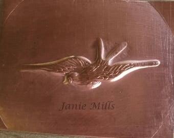 Copper Stamping Bird in Flight 1.5 x 2 inch