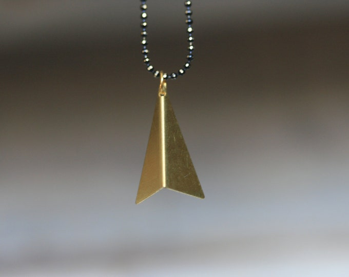 Geometric Triangle Brass Pendant and Black Chain Necklace | Minimalist | Gift