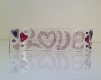 Fused Glass Love Ornament