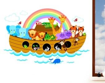 Noah's Ark - Children's Jungle Animal Mural Wall Sticker -  Nursery Art Vinyl Decal Transfer - Designed by Rubybloom Designs