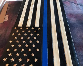 Blue Line American Flag with compartment