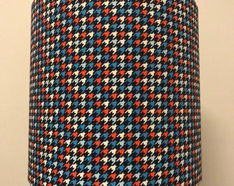SALE fantastic, colourful space invaders (??)  print lamp shade. blue red and white