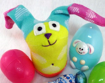 Sock Bunny, Skittle Bunny, Sock Toy, Bunny Plush, Neon Bunny, Toys, Plushie, Handmade Sock Animal, Sock Rabbit, Rabbit Stuffed Animal