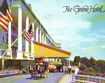 Vintage Grand Hotel on Mackinac Island, Michigan Stamped Post Card. 1968