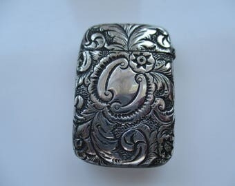Antique, EDWARDIAN, Silver Plated Flip Top, VESTA Match CASE, Circa 1900s