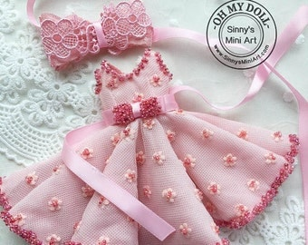 Hand made Pink Dress for Blythe/ Pullips Dress/ Azone Dress/ Licca Dress A31