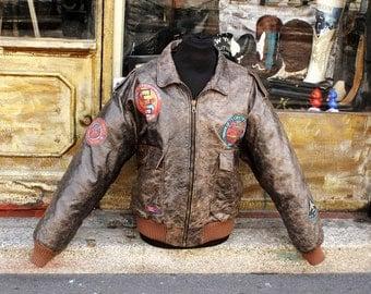 Top gun Aviator leather jacket type B3 flight jacket sz XL