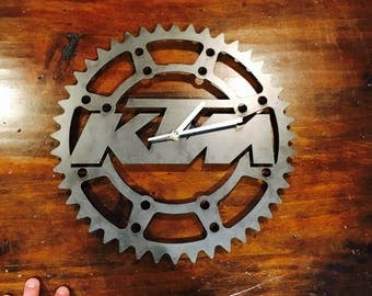 Metal KTM dirtbike clock- Perfect for the Garage, Shop, Office or Man cave!