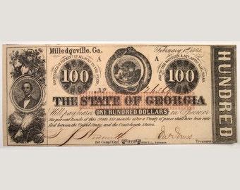 1863 Georgia Currency – Civil War