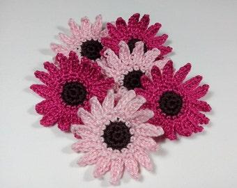 Crochet appliques 6 Crochet  Flowers Cardmaking Appliques Scrapbooking Sewing accessories