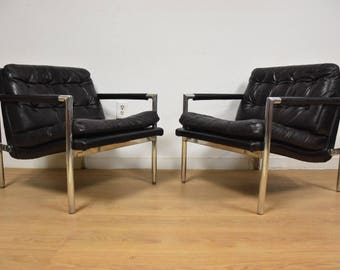 Black Leather and Aluminum Lounge Chairs- A Pair