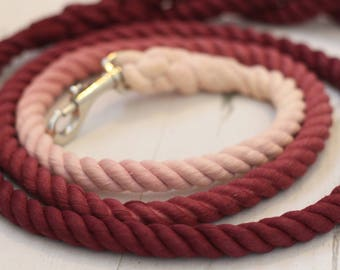 Red Wine Ombre - Soft Rope Leash