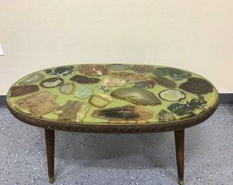 1960s  green  geode coffee table
