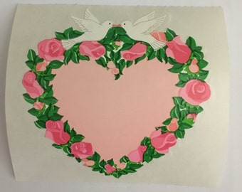 Vintage Kromekote Heart Wreath Sticker. Doves, Roses, Flowers