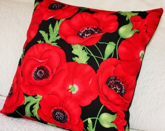 Brilliant Red Poppies with Black back Cushion Cover - 45 x 45cm