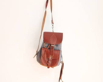 Vintage leather and suede mini backpack bag