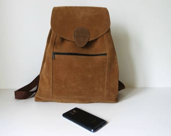 Vintage Brown Backpack, Brown Rucksack, Textile Backpack, Midi Size Backpack