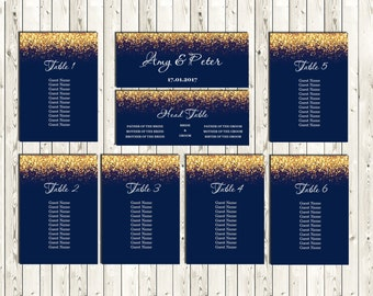Navy and Gold Wedding Seating Chart Printable, DIY Seating Cards, Seating Plan Editable, code-024