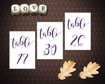 Purple Table Numbers 1-32, Double-sided, Purple Wedding Decor, Table Numbers Printable, code-025