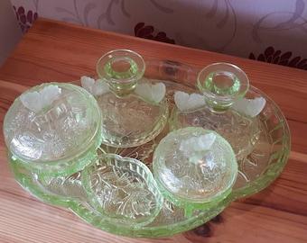 Art Deco Uranium Glass Dressing Table Set 1930s
