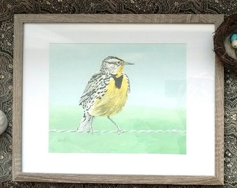 Meadowlark Bird Painting, Original Acrylic on Canvas, 8x10, Framed and Matted, 11x14 Framed Art, Birds and berry Studio, Wall Art Decor