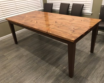 Custom Farmhouse Dining Table or Kitchen Table with Tapered Legs - Wood