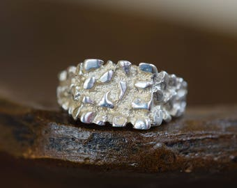 Mens Vintage 925 Silver Nugget Ring, US Size 12.5, Used Vintage Jewelry