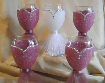 Bride and Bridesmaid Glittered Wine Glasses
