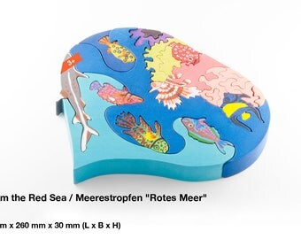 Wooden puzzle a drop from thr red Sea / Waldorf / Montessori / Wooden Toys / Animal World /Fish / Puzzle / Learning / Handmade