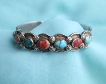 Sterling Silver Multistone Cuff Bracelet, Sunshine Reeves, D. Reeves, Turquoise, 925, Signed Jewelry, Ships FREE! LJ-23