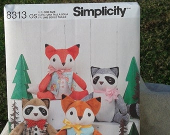 "Stuffed Raccoon & Fox with Bow and Vest - 11"" Raccoon and 12' Fox- Stuffed Seated Toy Animals-Simplicity Sewing Pattern 8313 by Elaine Heigl"