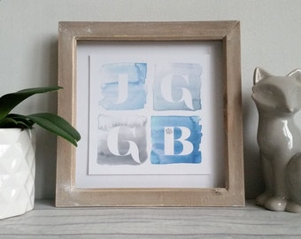 Personalised prints, from my original watercolour wash designs, available with any initials in any colour scheme, framed or as print only