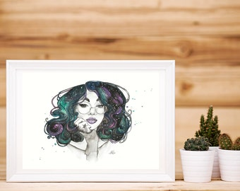 Watercolour Cosmic Curls Artwork