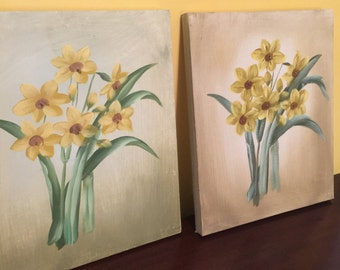 Daisies Painting- Set of 2- Handpainted on Canvas