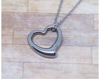Floating heart etsy heart necklace heart pendant silver heart open heart necklace anniversary gift mozeypictures Image collections