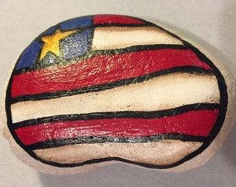 Painted FLAG rock - AMERICANA - patriotic - rock painting