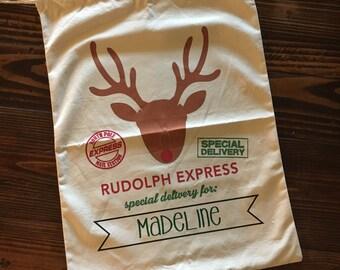 Personalized Reindeer Santa Sack|| Canvas Christmas Tote|| Holiday Sacks|| Holiday Bags|| Santa Sack|| Santa Gift Bag|| Christmas Gift Bag||